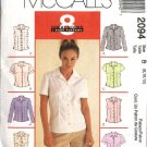 McCall's Sewing Pattern 2094 Misses Size 4-8 Easy Classic Shirts Tops Blouses Sleeveless Sleeves