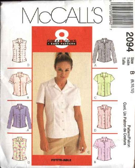 McCall's Sewing Pattern 2094 Misses Size 8-12 Easy Classic Shirts Tops Blouses Sleeveless Sleeves