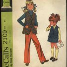 Vintage McCall's Sewing Pattern 2109 Girls Plus Size 6X Quickie Vest Pull On Pants A-Line Skirt