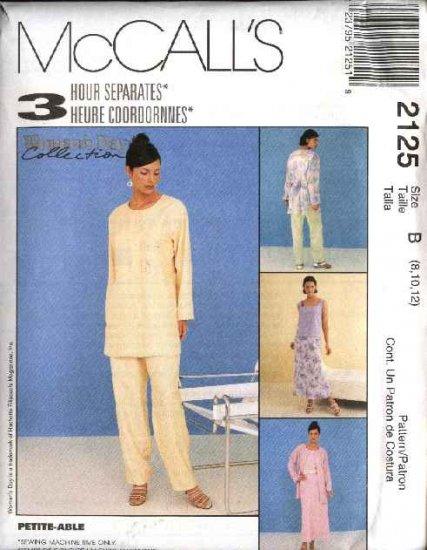 McCall's Sewing Pattern 2125 Misses Size 8-12 Wardrobe Top Shell Bias Skirt Long Pants Jacket