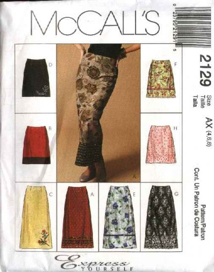 McCall's Sewing Pattern 2129 Misses Size 8-10-12 Fitted A-Line Short Long Overlayed Skirts