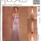 McCall's Sewing Pattern 2182 Misses Size 4-6-8 Evening Prom Formal Raised Waist Gowns Dress