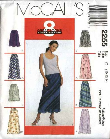 McCall's Sewing Pattern 2255 Misses Size 6-8-10 Easy Bias Pull-on Long Short Overlayed A-Line Skirt