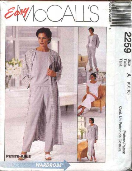 McCall's Sewing Pattern 2259 Misses Size 6-8-10 Easy Wardrobe Duster Jacket Dress Pants Top