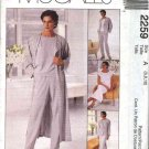 McCall's Sewing Pattern 2259 Misses Size 10-12-14 Easy Wardrobe Duster Jacket Dress Pants Top