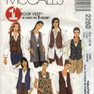 McCall's Sewing Pattern 2260 Misses Size 24-26 Easy 1 Hour Unlined Button Front Long Short Vests