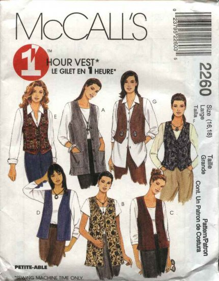 McCall's Sewing Pattern 2260 Misses Size 16-18 Easy 1 Hour Unlined Button Front Long Short Vests