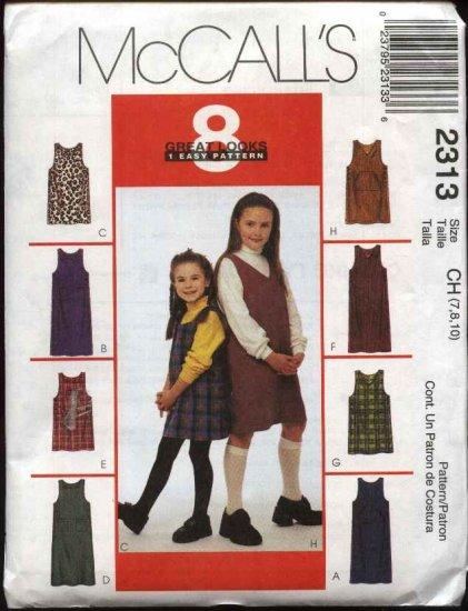 McCall's Sewing Pattern 2313 M2313 Girls Size 7-10 Easy Short Long Straight Jumper School Uniform