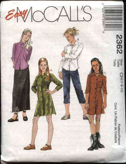 McCall's Sewing Pattern 2362 Girls Size 7-8-10 Easy Wardrobe Button Front Dress Skirt Pants Shirt