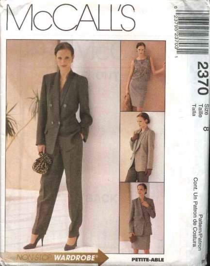 McCall's Sewing Pattern 2370 Misses Size 8 Wardrobe Lined Jacket Top Straight Skirt Long Pants