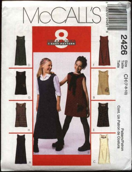 McCall's Sewing Pattern 2426 Girls Size 7-8-10 Easy A-Line Dress Jumper