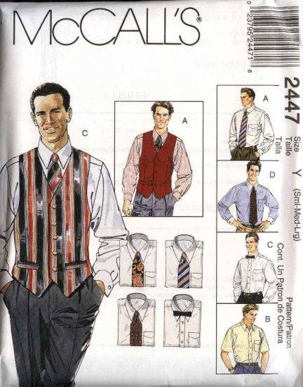 """McCall's Sewing Pattern 2447 Mens Size 46-56"""" Long Short Sleeve Shirt Lined Vest Necktie Bow Tie"""