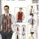 "McCall's Sewing Pattern 2447 Mens Size 46-56"" Long Short Sleeve Shirt Lined Vest Necktie Bow Tie"
