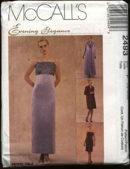 McCall's Sewing Pattern 2493 Misses Size 16-20 Evening Gown Formal Prom Empire Dress Duster