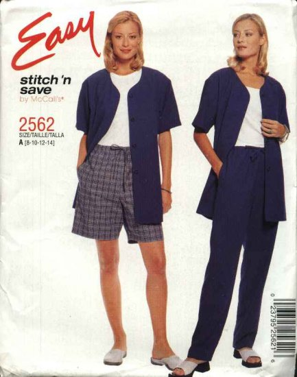 McCall's Sewing Pattern 2562 Misses Size 8-14 Easy Unlined Button Front Jacket Pull On Pants Shorts