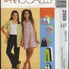 McCall's Sewing Pattern 2569 Girls Size 10-12-14 Easy Wardrobe Halter Dress Top Shirt Pants