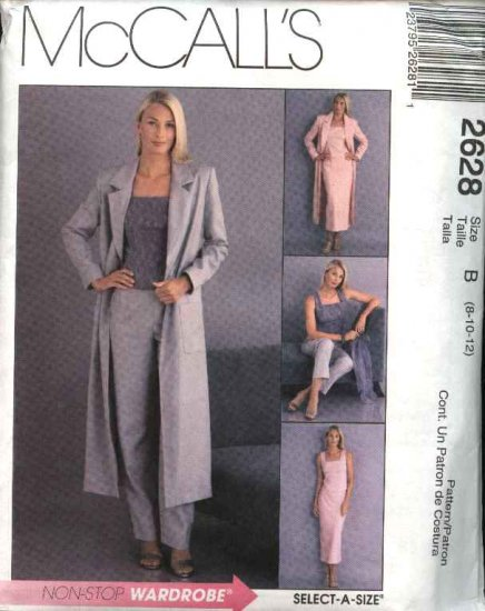 McCall's Sewing Pattern 2628 Misses Size 8-12 Wardrobe Duster Sleeveless Top Skirt Long  Pants