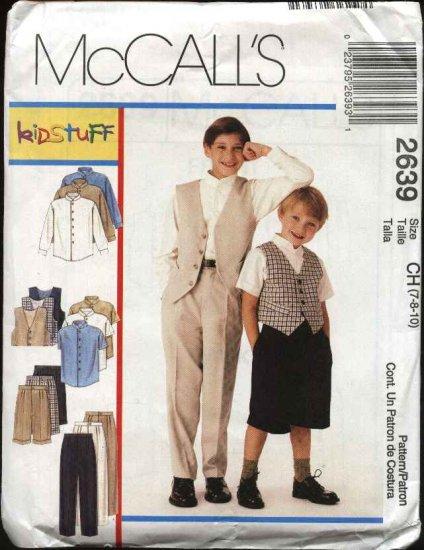 McCall's Sewing Pattern 2639 Boys Size 12-16 Wardrobe Pants Shorts Vest Long Short Sleeve Shirt