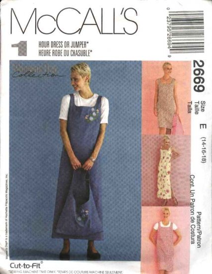 McCall's Sewing Pattern 2669 Misses Size 14-18 Pullover Sleeveless Dress Jumper Tote Bag