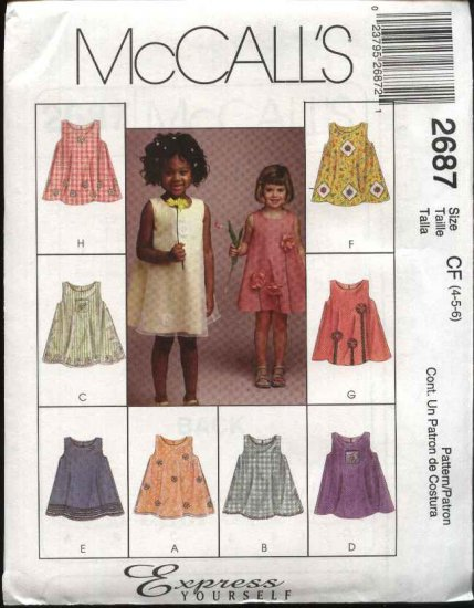 McCall's Sewing Pattern 2687 Girls Size 4-6 Pullover Sleeveless Dress Jumper