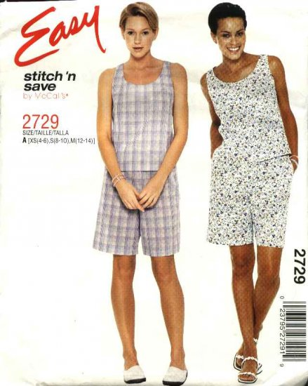 McCall's Sewing Pattern 2729 Misses Size 4-14 Easy Summer Sleeveless Top Shorts