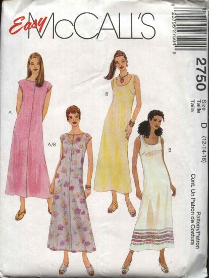 McCall�s Sewing Pattern 2750 Misses  Size 12-16 Easy Sleeveless Summer Layered Slip Dress