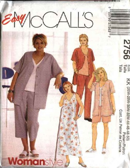 McCall�s Sewing Pattern 2756 M2756 Womans Plus Size 18W-24W Easy Jacket Dress Pants Top