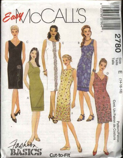 McCall�s Sewing Pattern 2780  Misses Size 14-18 Easy Summer Sleeveless Straight Dress