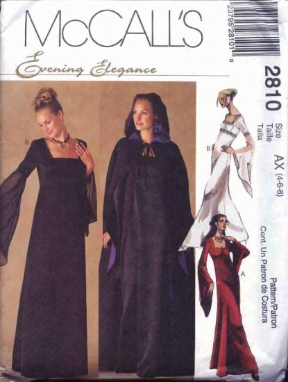 McCall's Sewing Pattern 2810 Misses Size 4-6-8 Formal Lined Long Dress Gown Hooded Cape