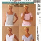 McCall's Sewing Pattern 2818 Misses Size 8-12 Classic Fit button Back Tops