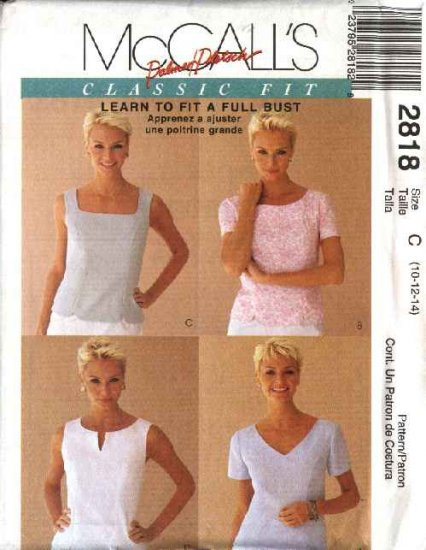 McCall's Sewing Pattern 2818 Misses Size 10-12-14 Classic Fit Button Back Tops
