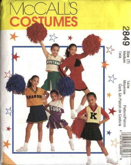 McCall's Sewing Pattern 2849 Girls Size 8-10 Cheerleaders Outfits Pleated Skirt Tops Panties