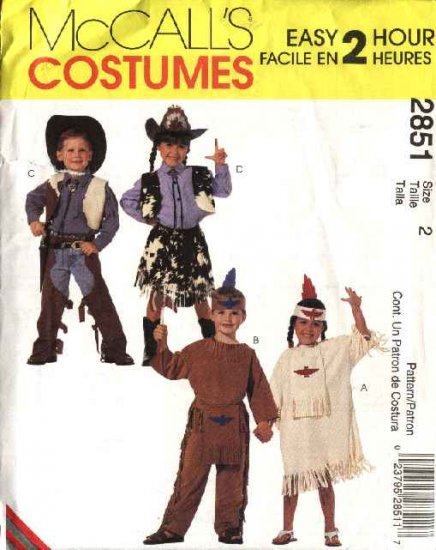 McCall�s Sewing Pattern 2851 Boys Girls Size 2 Cowboys Cowgirl  Indian Halloween Costumes