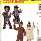 McCall's Sewing Pattern 2851 Boys Girls Size 2 Cowboys Cowgirl  Indian Halloween Costumes