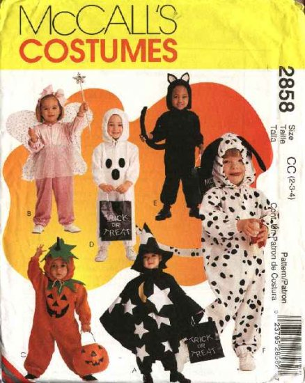 McCall�s Sewing Pattern 2858 Boys Girls Size 2-4  Halloween Costumes Fairy Pumpkin Cat Dog Ghost
