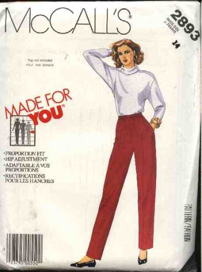 McCall�s Sewing Pattern 2893 Misses Size 16 Pull on Long Pants for Tall Average Short Heights