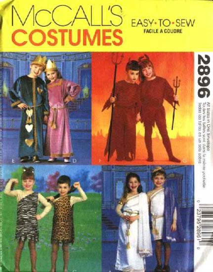 """McCall's Sewing Pattern 2896 Boys Girls Chest Sizes 22-27"""" Halloween Costumes Cave People Devils"""