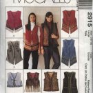 McCall's Sewing Pattern 2915 Misses Size 16-18 Lined Vest Trim Length Variations