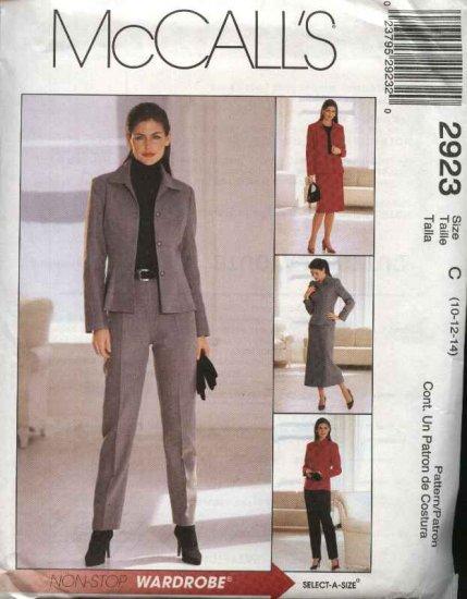 McCall's Sewing Pattern 2923 Misses Size 12-14-16 Classic Jacket Pants Skirt Suit Pantsuit