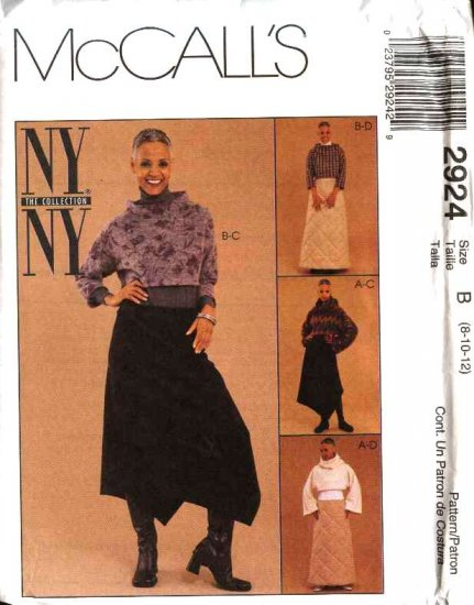 McCall's Sewing Pattern 2924 Misses Size 8-10-12 NYNY Pullover Tops Asymmetrical Long Skirts