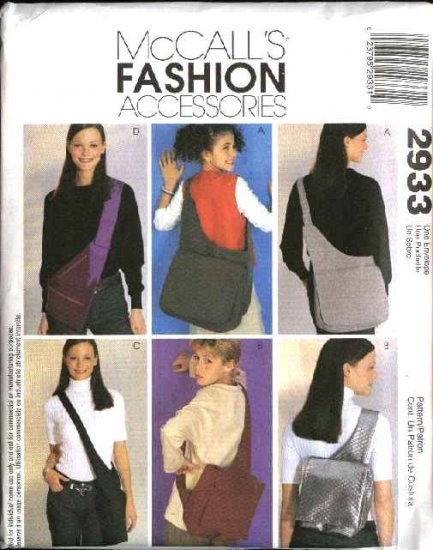 McCall's Sewing Pattern 2933 Four Lined Fashion Messenger Laptop Tote Bags