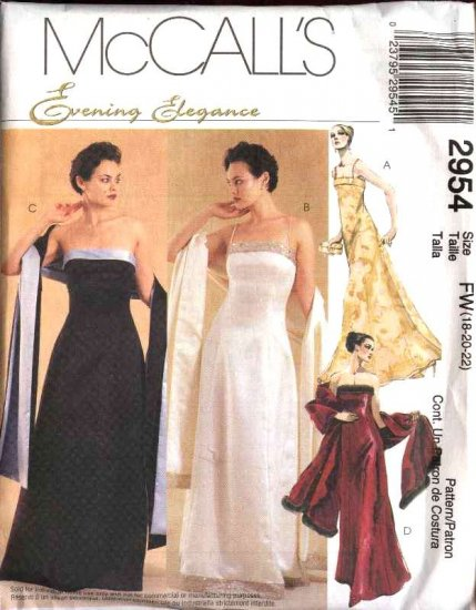 McCall's Sewing Pattern 2954 Misses Size 12-14-16 Formal Evening Prom Strapless Dress Gown Shawl