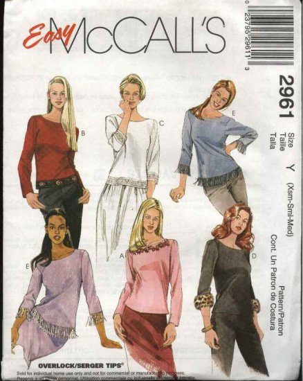 McCall's Sewing Pattern 2961 Misses Size 4-14 Easy Pullover Knit Tops