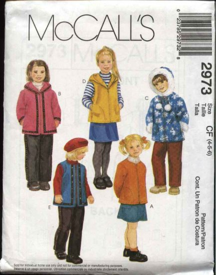 McCall's Sewing Pattern 2973 Girls Size 4-6 Zipper Front Hooded Jacket Vest Long Pull On Pants Skirt
