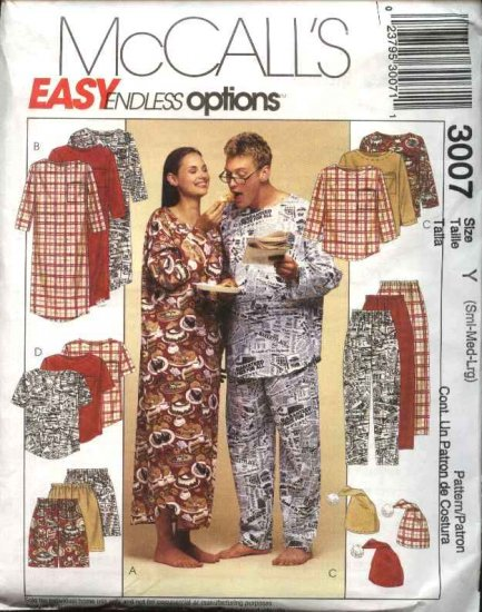 McCall's Sewing Pattern 3007 Misses Mens Unisex Chest Size 31½-40 Easy Pajamas Top Pants Shorts