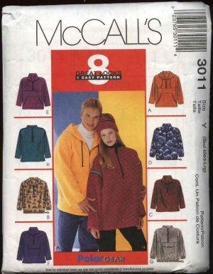 """McCall's Sewing Pattern 3011 Misses Mens Unisex Chest Size 46-52"""" Polargear Fleece Pullover Jacket"""