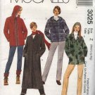 McCall's Sewing Pattern 3025 Misses Size 4-14 Polargear Button Zipper Front Hooded Jacket Coat