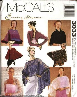 McCall's Sewing Pattern 3033 Misses Size 4-18 Formal Evening Prom Capelets  Capes Shrugs Bolero