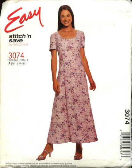 McCall's Sewing Pattern 3074 Misses Size 10-16 Easy Short Sleeve Long Flared Dress
