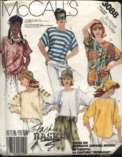 McCall�s Sewing Pattern 3088 Misses Size 6-8 Basic Knit Pullover Long Short Sleeve Tops